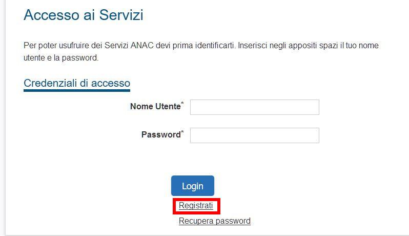 come registrarsi sul sito ANAC