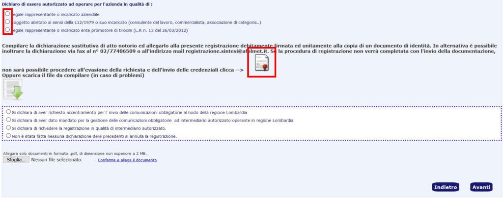 portale sintesi modulo registrazione