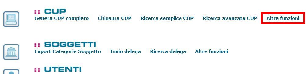 la chiusura del codice CUP