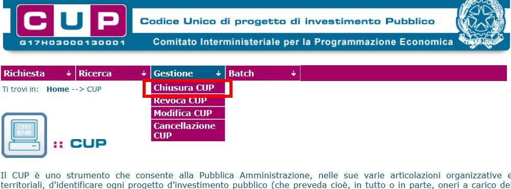 chiusura del CUP