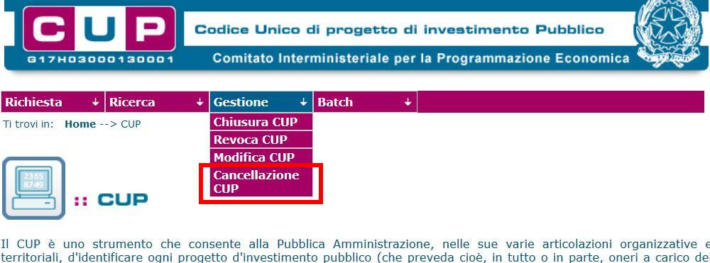 cancellazione CUP
