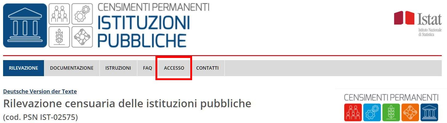 Accesso rilevazione censuaria 2021